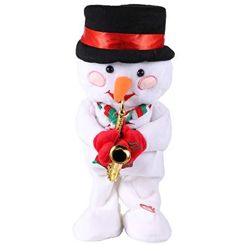 TomaiBaby Weihnachtsgesang Tanzen Elektrisches Spielzeug Schneemann Saxophon Figur Musikpuppe Lustiges Interaktives Spielzeug Desktop-Schmuck Keine Batterie