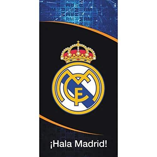 Real Madrid RM185012. Toalla de baño y Playa de Algodón 100% de 70x140 cm. Licencia Oficial.