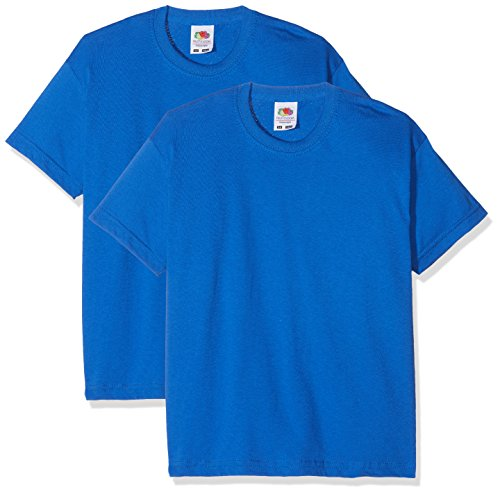 Fruit of the Loom Jungen Kids Valueweight Short Sleeve T 2 Pack T-Shirt, Blau (Blau Königsblau), 3-4 Jahre (2er Pack)