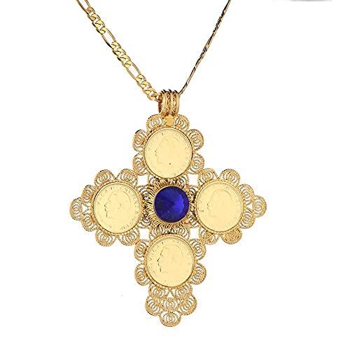 Collares Collar con colgante de cruz grande con moneda etíope, joyería de moda étnica etíope africana de Color dorado para mujer, Blu