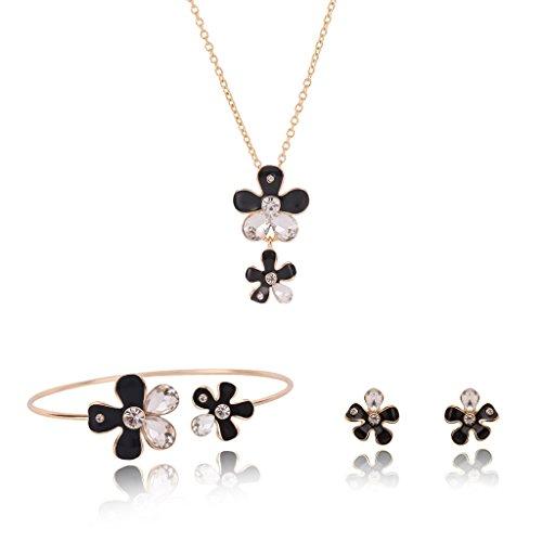 RG-FA Elegante flor Rhinestone collar pendientes pulsera mujer joyería conjunto boda -