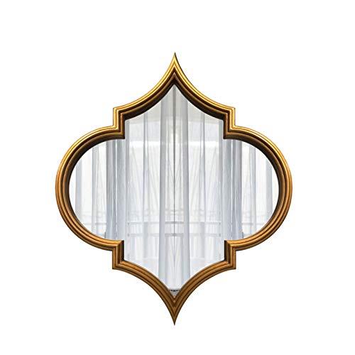 Espejo De Baño, Espejo De Pared Decorativo De Oro, Espejos De Maquillaje De Tocador De Madera, Espejo De Acento Rústico para Entrada De Baño Sala De Estar De Comedor,23.6X27.5in