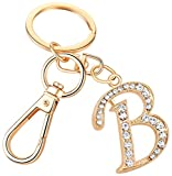 Keychain for Women AlphaAcc Purse Charms for Handbags Crystal Alphabet Initial Letter Pendant with Key Ring,Letter B