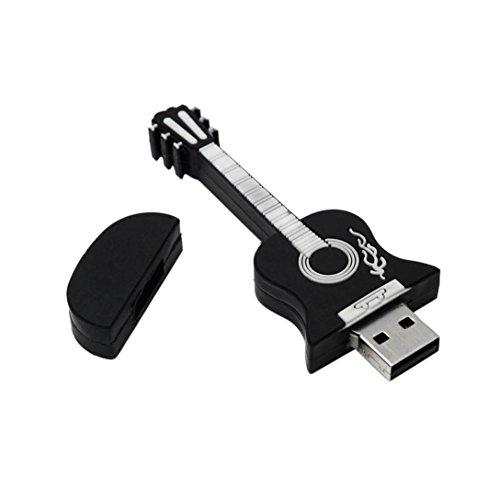 kingko® Gitarre geformte USB 2.0 Metall-Flash-Speicher-Stick-Speicher Thumb U Scheibe (32GB, Schwarz)