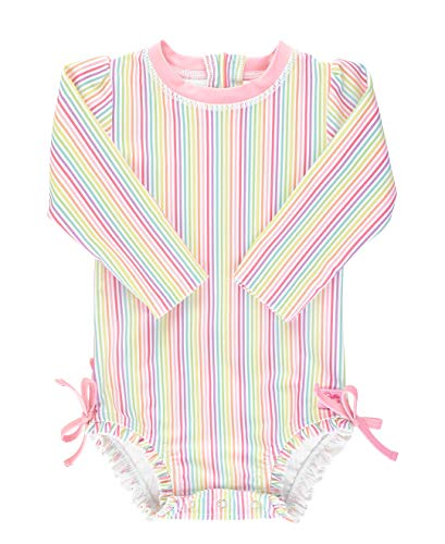 RuffleButts Baby/Toddler Girls Rainbow Stripe One Piece Rash Guard - 2T