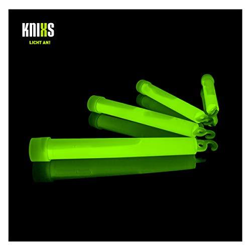 KNIXS 25er Pack Power-Knicklichter/Knicklicht (15cm) inkl. Spezialhaken und Befestigungsband - grün Leuchtend für Party, Festival, Outdoor oder als Dekoration