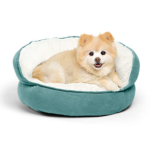 Best Friends by Sheri Pet Throne Round Orthopedic Cat and Dog Bed, High Walls for Security & Comfort, Machine Washable, for Pets up to 25 pounds - Standard, Tide Pool