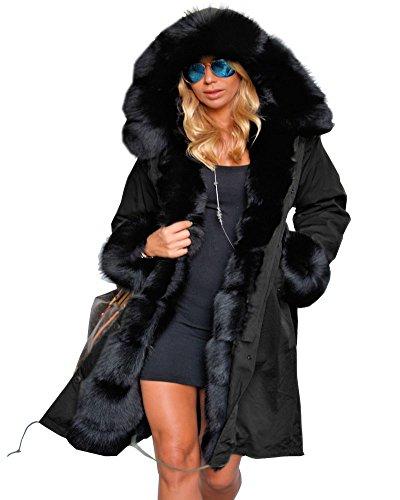 Roiii Femmes Hiver Chaud épais Fausse Fourrure Manteau à Capuche Parka Veste Longue Taille S-XXXL (L,Noir)