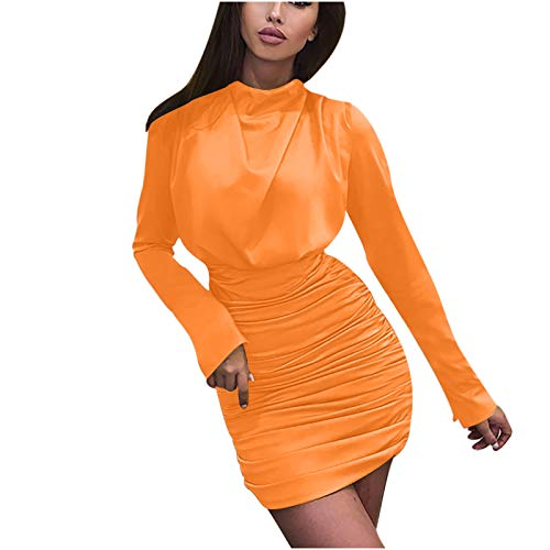 Xmiral Kleid Damen Langarm Plissee Hüftrock Einfarbig Tunika Taille Body-Con Büro Bussiness Kleid(Orange,S)