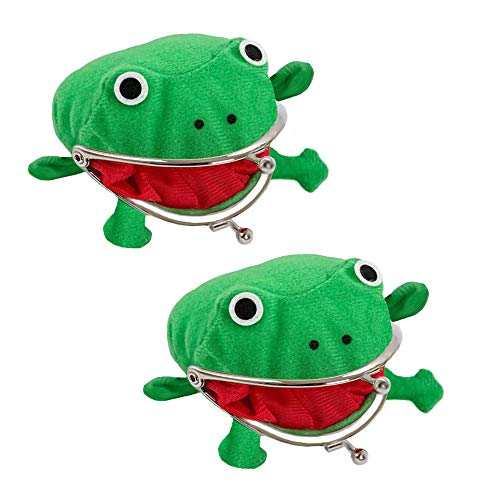 Ebetter Frog Coin Wallet,Cosplay Anime Cute Purse, Green Cartoon Plush Frog Money Bag,Frog Money Pouch with Lock,Novelty Toy,School Prize,2 Pcs