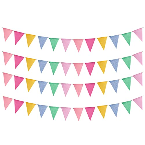 48pcs Guirnalda Banderines de Tela Guirnaldas Triangulares Multicolor Pancarta Triángulo Decoración Colgante de Boda Bautizo Fiesta Cumpleaños Navidad Decoraciones Celebracion - 4 x 12 Banderas