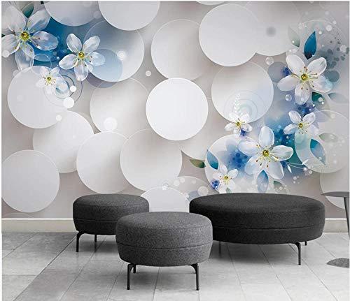 SHANGZHIQIN Custom 3D Mural Wallpaper Wall Paper Photo, Blue Floral Living Room Paper Wallpaper