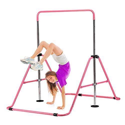 ZENOVA Gymnastics Bar for Kids, Junior Training Bar Kip Bar Adjustable Horizontal Bars, Gymnastics Equipment for Home