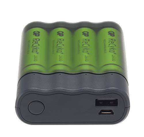 GP Charge Anyway - innovatives 2in1 Batterieladegerät für NI-MH AA/AAA Akkus und lithiumfreie Powerbank batteriebetrieben für USB, inkl. 4X Akkus AA 2600mAh (Akkuladegerät & Powerbank All-in-One)