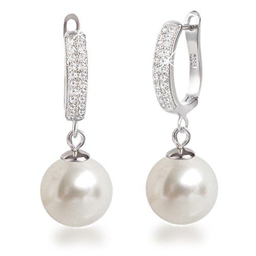 Schöner-SD, Edle Perlenohrringe Ohrhänger mit großen Tropfen Perlen cremeweiß, 925 Silber Rhodium mit glitzernden Zirkonia