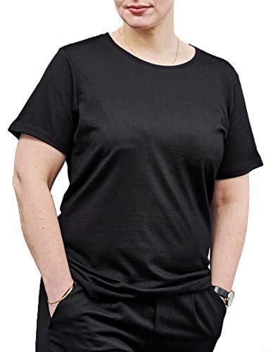 Woolday I Merino T-Shirt Damen Rundhals aus 100%, superfeiner Merinowolle I Stoff aus Deutschland, genäht in Portugal I Schwarz I L