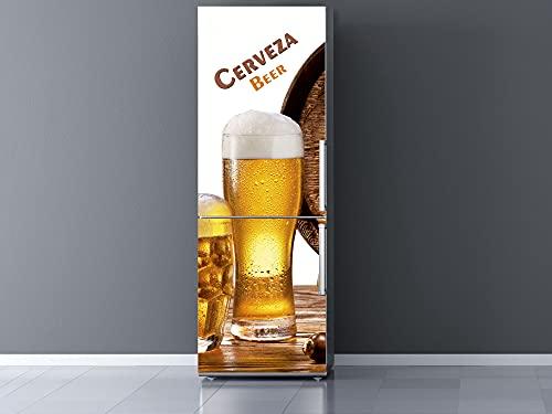 Pegatinas Vinilo para Frigorífico Caña Cerveza | Varias Medidas 185 x 70 cm | Adhesivo Resistente y de Fácil Aplicación | Pegatina Adhesiva Decorativa de Diseño Elegante