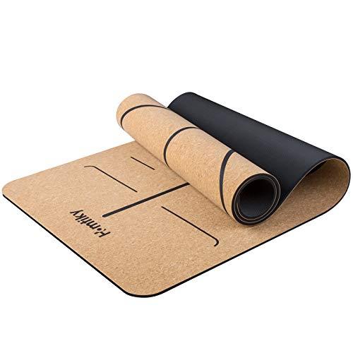 Homtiky Esterilla Yoga Antideslizante, Colchoneta Yoga de Corcho, Esterilla Deporte Hecha de Material Natural con Sistema de Línea, Yoga Mat de 183x65cm, 7mm con Cuerda de Transporte