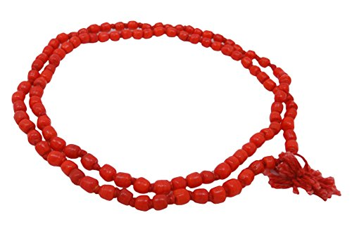Indianbeautifulart Traditionelle rote Koralle Japa Mala braune Rosenkranz-Gebet-Korn-Meditation