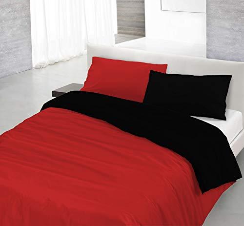 Italian Bed Linen Natural Doble Color y Funda de Almohada, 100% Algodón, Rojo/Negro, sìngolo