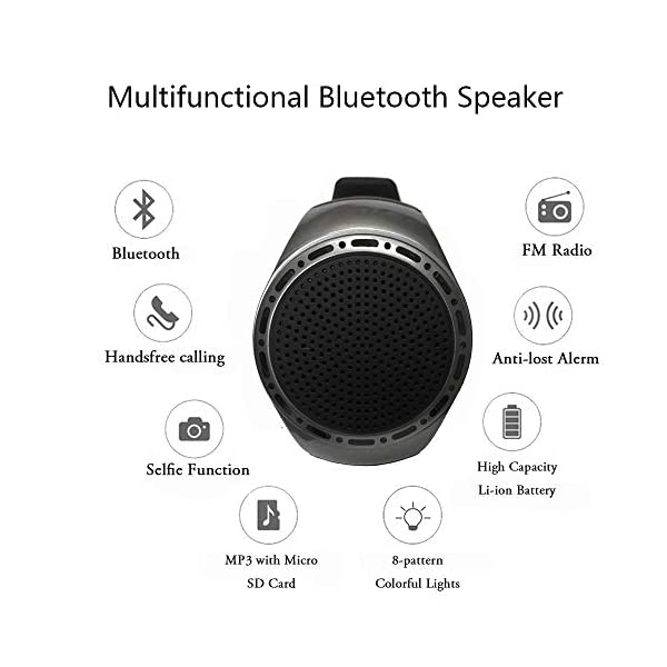 Portable Sports Bluetooth Speaker Watch with Multi Function MP3 Player & FM Radio & Selfie & Anti-Lost & Ultra Long Standby Time for Running, Hiking, Climbing 6
