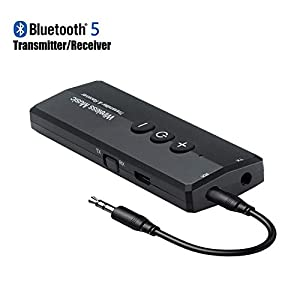 Bluetooth 5.0 Transmitter Receiver 3-in-1, Isobel Wireless 3.5mm Audio Adapter for TV PC Headphones Home Sound System Car/CD-Like Voice Enjoyment