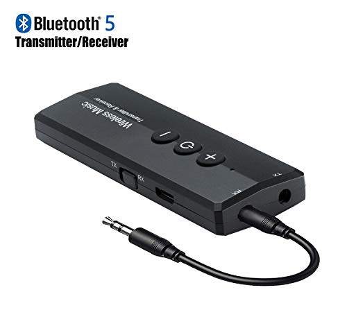 Bluetooth 5.0 Transmitter Receiver 3-in-1, Isobel Wireless 3.5mm Audio Adapter for TV PC Headphones Home Sound System Car/CD-Like Voice Enjoyment 3