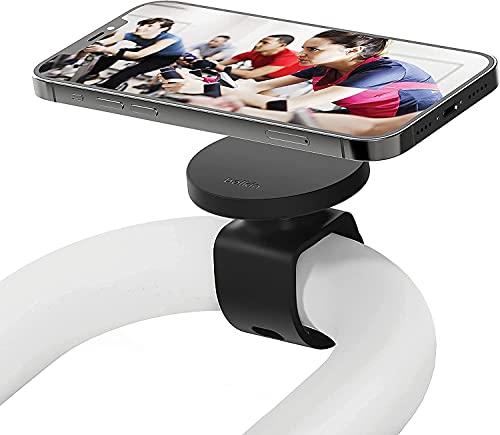 Belkin soporte para fitness con MagSafe (para equipamiento de gimnasio, soporte de montaje magnético para móvil con correa para barras, cintas, bicicletas de spinning o elípticas, serie iPhone 13)