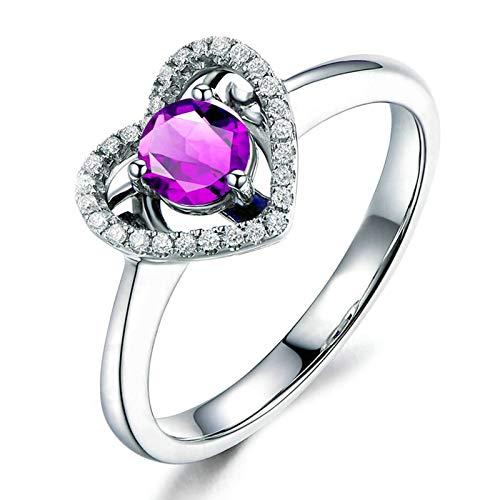 Bishilin Alianza de Boda S925 Plata de Ley Anillo de Mujer Clásico Moderno Púrpura Redondo Cristal Piedra Natal de Febrero Anillo de Eternidad Aniversario Boda con Bolsa de Joyeríaplata Talla: 16