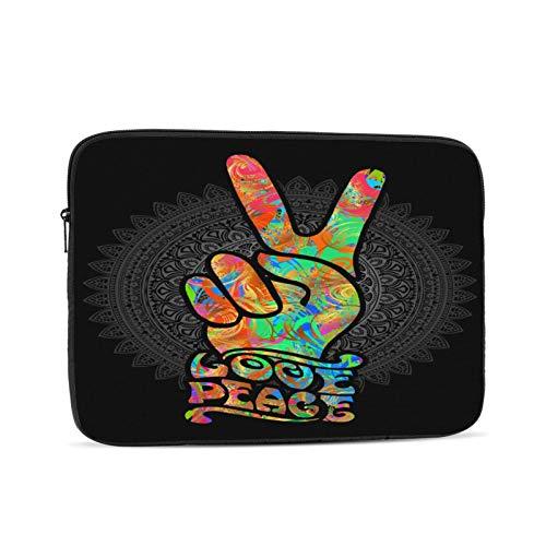 Blumen Friedenszeichen Geste-Hippie-Symbole Zwei Finger als Zeichen des Sieges Laptop-Hülle Kompatibel für Apple MacBook Mac Acer Aspire Samsung Lenovo Oberflächenbuch HP Laptop-Abdeckung Tasche Trage