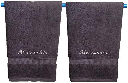 Monogrammed Personalized Name Hand Towels Custom Embroidered Towels Set of Two Grey product image