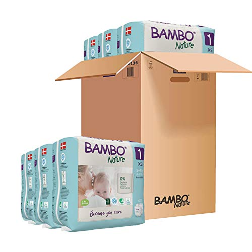 Bambo Nature Premium Eco Nappies, Size 0 Newborn (4-9 lb/2-4 kg) Case Saver 132 Count
