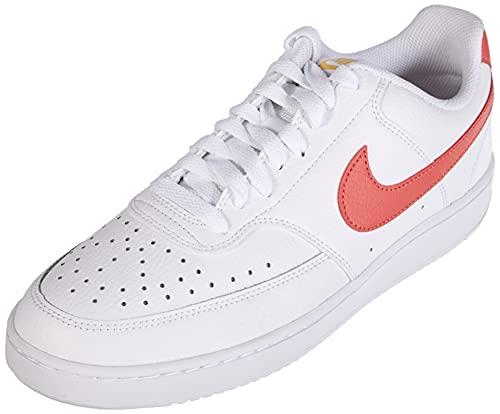 Nike Damen Court Vision Low Basketballschuh, Weiß und Rot, 42 EU