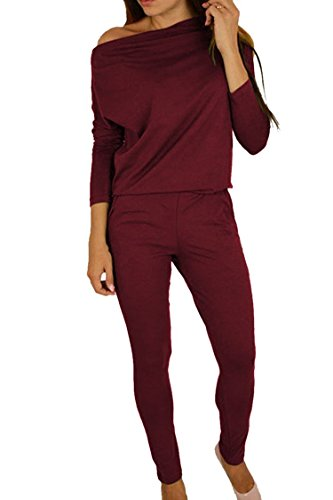 Women's 1PC Trendy Jumpsuit Sleeveless Broken Hole Waisted Club Long Romper Outfit, Medium, 09-ruby