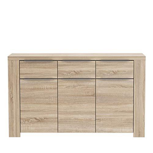 FORTE Calpe Kommode mit 3 Türen und 3 Schubkästen, Holz, sonoma eiche, 143.80 x 41.3 x 86.6 cm