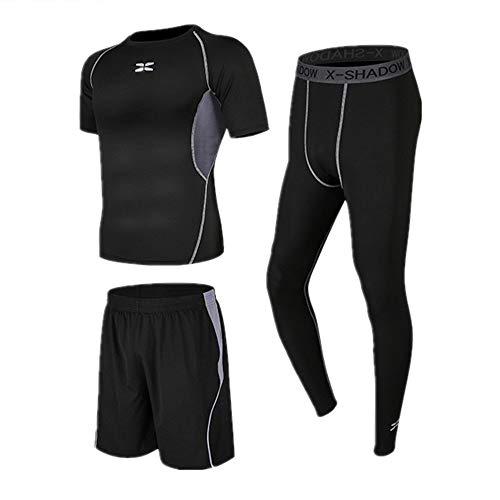 Huangjiahao - Juego de ropa de gimnasio para hombre, 3 piezas, capa base de compresión con manga corta, pantalones cortos de correr, leggings de compresión para entrenamiento y correr, algodón, Negro gris., Small