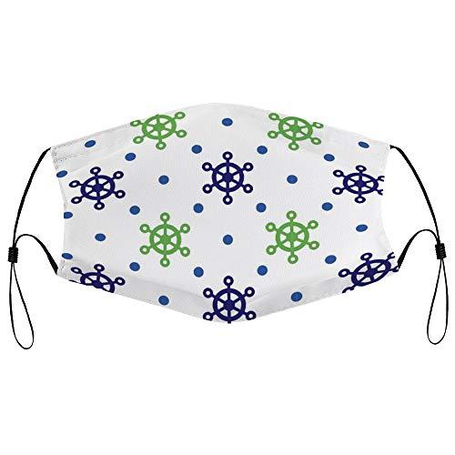 Dkisee Fashion Unisex Staubmaske mit Filterelement, verstellbare Ohrschlaufen, Gesichtsmaske für den Außenbereich (Lenkrad Punkte)