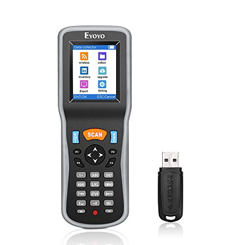 Eyoyo PDT Wireless Lettori di Codici a Barre Barcode Scanner Portatile Data Magazzino USB 1D LCD Schermo