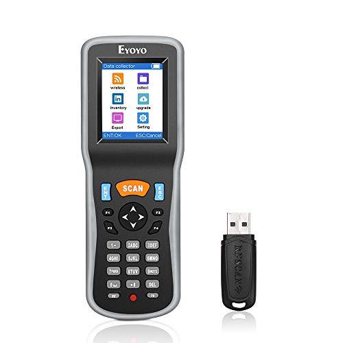 Eyoyo 1D Escáner de Código de Barras, Lector de Código de Barras Colector de Datos Contador de Inventario con USB Receptor y 2,2'' LCD Pantalla Colorida para Tienda, Supermercado y Almacén, etc.