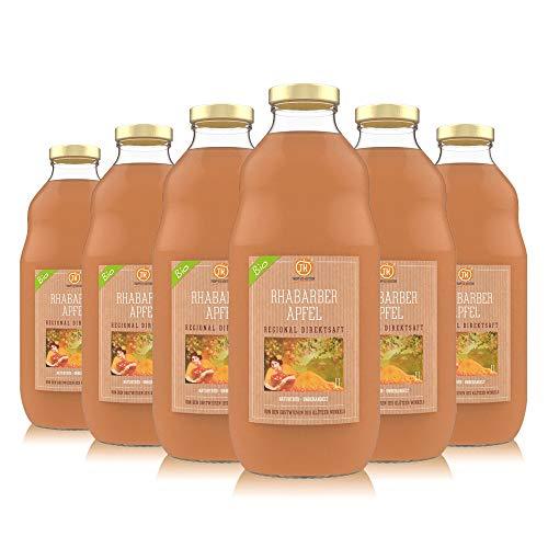 TROPFEN KONTOR Rhabarber Apfel (6x1 l) BIO Apfelsaft 100% Direktsaft Regional Rhabarbersaft Ohne Zucker Naturtrüb Unbehandelter Saft Vegan