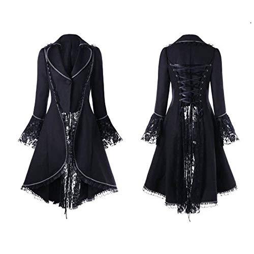 Xisimei Chaqueta gtica para mujer, estilo steampunk, vintage, falda victoriana, uniforme, disfraz medieval, pirata, vikingo, renacimiento, formal, esmoquin, Negro , L