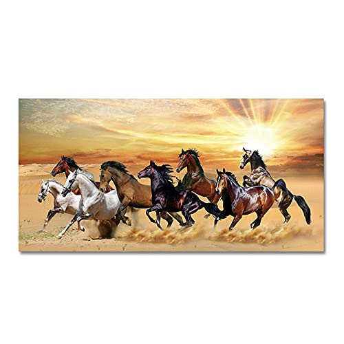 GYJDD Eight Horse Animals Canvas Painting Pictures Sunset Landscape Posters and Prints Wild Animals Wall GemäLde Living Room Home Deko 60x120cm No Frame