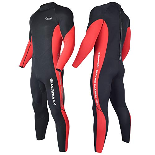 Hevto Wetsuits Men 3mm Neoprene Fullsuit Thermal Scuba Diving Suits Surfing Swimming Long Sleeve for Water Sports (Red Men, XXL)