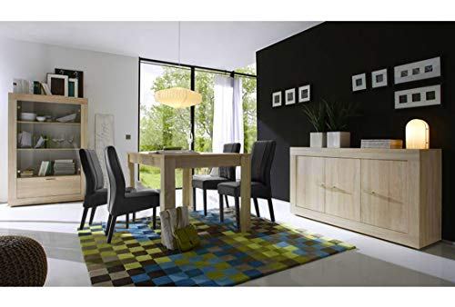 LIGNEBLE LIVOURNE SAMOA eetkamer trendy set met vitrine + buffet 3 deuren + eettafel 160 + 4 stoelen