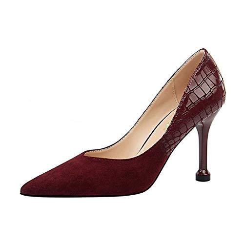 JOEupin Zapatos de tacón alto para mujer, zapatos de tacón alto, zapatos de salón de boda, zapatos de tacón, rojo (Vino), 40 EU
