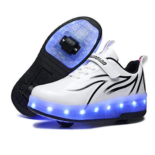 Scarpe da LED Luce USB Ricaricabile Doppia Ruota Skateboard Sportive con Rotelle Automatiche Ruota Diritta Formatori Outdoor Multisport Ginnastica Running Sneaker Unisex Bambini e Ragazze