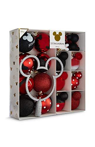 Sconosciuto Licensed Disney Mickey Mouse Decorazione Di Natale Confezione Di 25 Bagattelle Rosso/Multicolore Decorazioni Da Appendere Primark - Rosso Confezione Di 25, Misura Unica