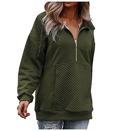 MGHN Blusa para mujer, cuello en V, manga larga, informal, con cremallera, color liso, sudadera con empalme, suéter para mujer, túnica, blusa, Verde militar., L