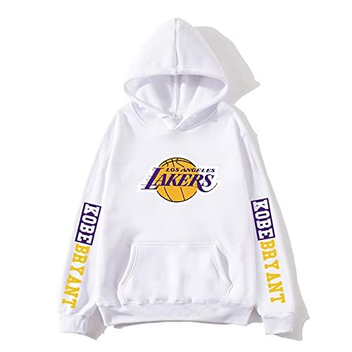 FFLL Sudadera con Capucha con Capucha para Hombre, Camiseta De Manga Larga Unisex, Uniformes De Lakers KO-Be Sportswear,Blanco,M
