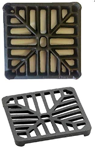 6' x 6' 152mm x 152mm 9mm thick Square Cast Iron Gully Grid / Grate Heavy Duty Drain Cover Black Satin Finish